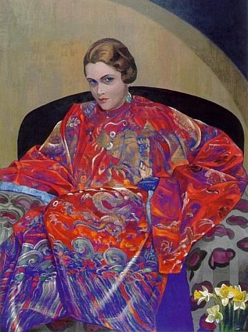 С.Н.Рерих. Портрет Кэтрин Кэмпбелл в красно-синем тибетском халате. Около 1926-1927